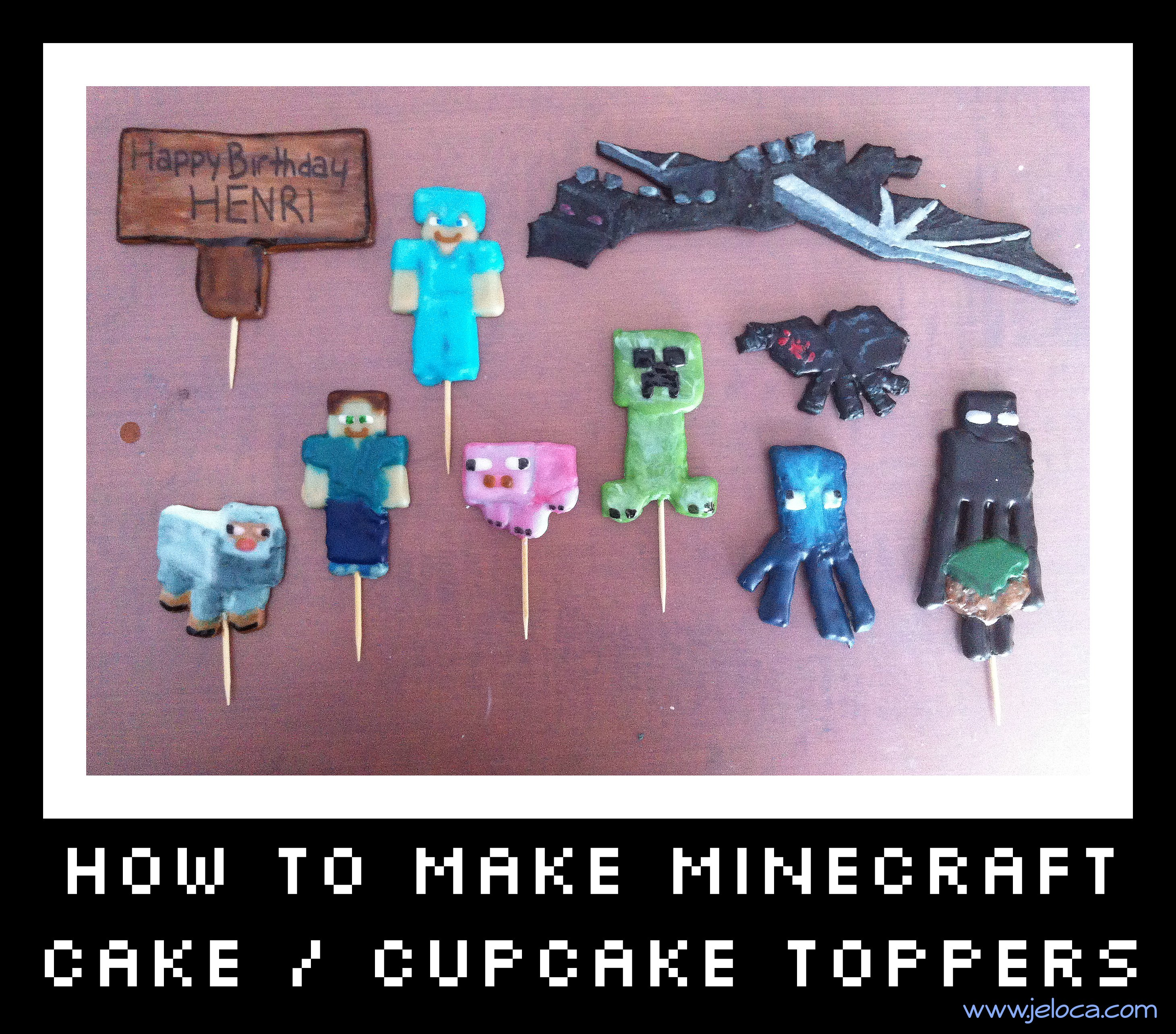 How to make Minecraft cake cupcake toppers