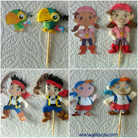 Jake & The Neverland Pirates painted fondant cake toppers