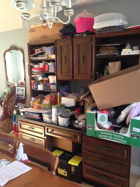 messy desk dining room