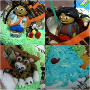 diego dora cake character collage