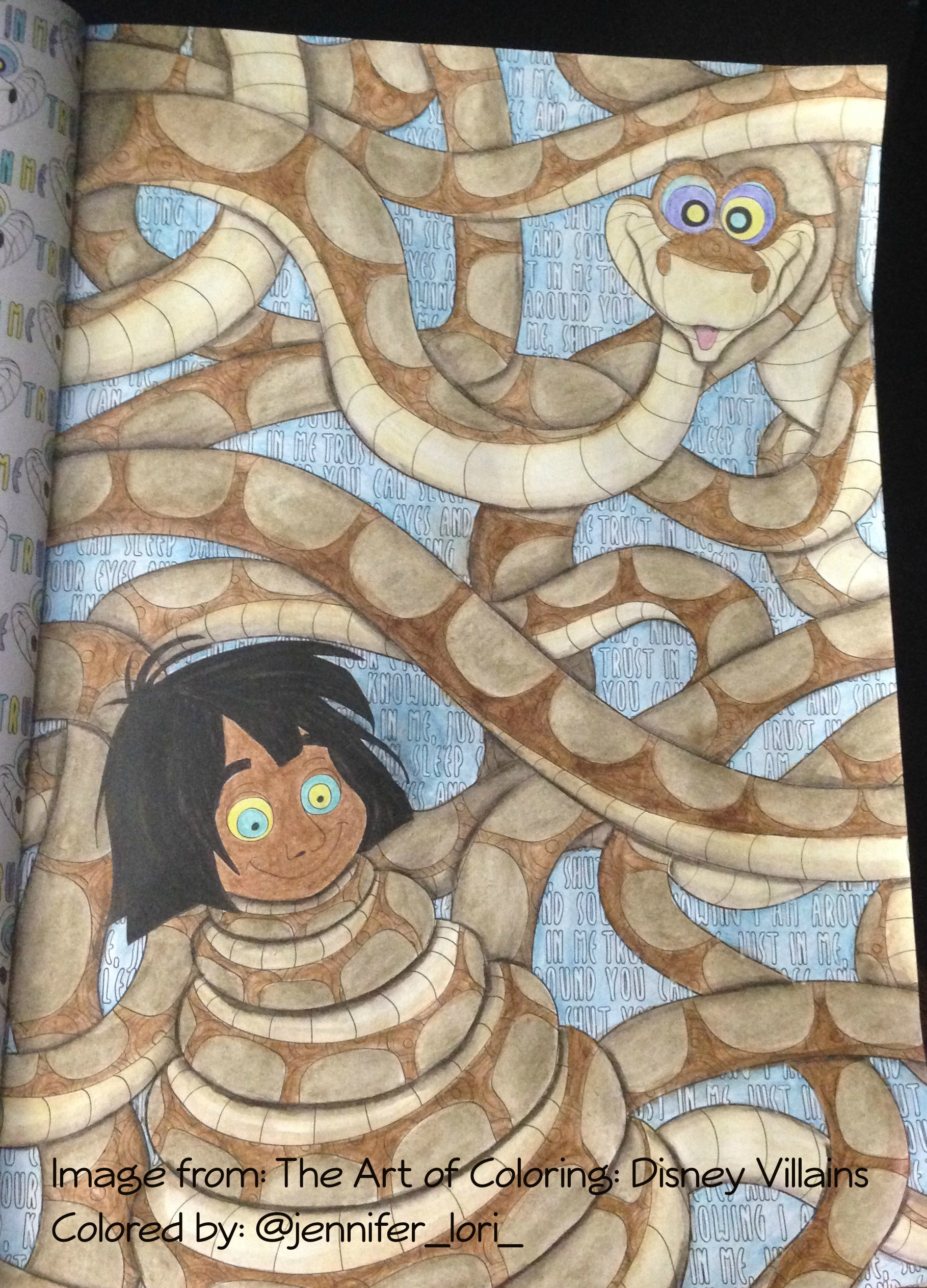 Coloring Mowgli And Kaa In The Art Of Coloring: Disney Villains With  Derwent Inktense Pencils |